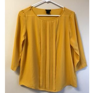 Ann Taylor Pleated Front Mustard Blouse